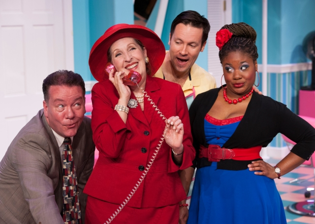 Shear Madness 2 - (L-R) Aaron Shields, Brigid Cleary, Danny Bernardy, Soneka Anderson in Shear Madness at the Kennedy Center - Photo by Margot Schulman 2014-2.jpg